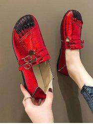 Dual Buckle Strap Leather Flat Shoes -