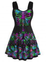 Skull Floral Butterfly Skeleton Halloween Plus Size Tank Top -
