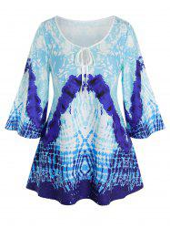 Plus Size Keyhole Tie Abstract Print Wide Sleeve Tee -