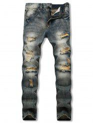 Distressed Destroy Wash Long Straight Jeans -