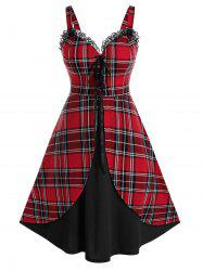 Plus Size Plaid Lace-up Overlap Lace Trim Retro Dress -