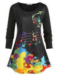 Plus Size Musical Notes Paint Splatter T Shirt -