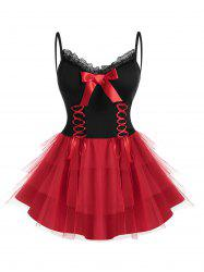 Plus Size Tulle Layered Lace-up Bowknot Cami Babydoll Set -