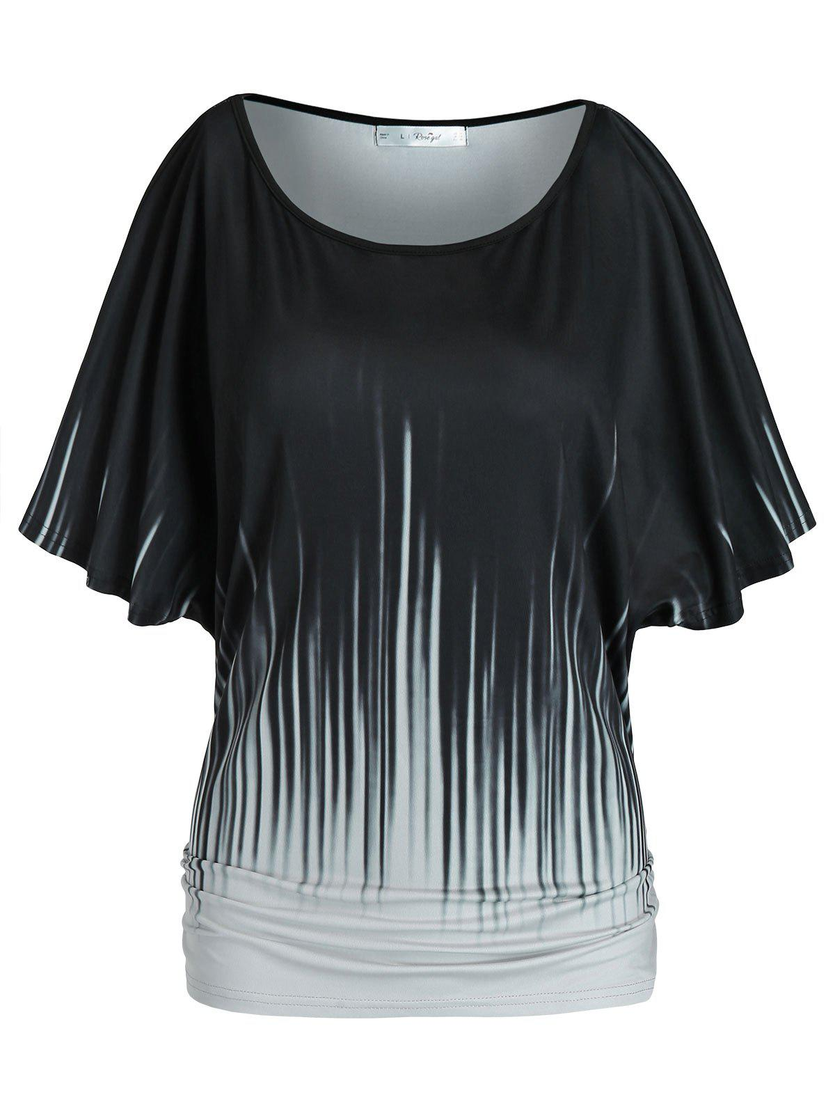 Sale Plus Size Ruched Batwing Sleeve T Shirt