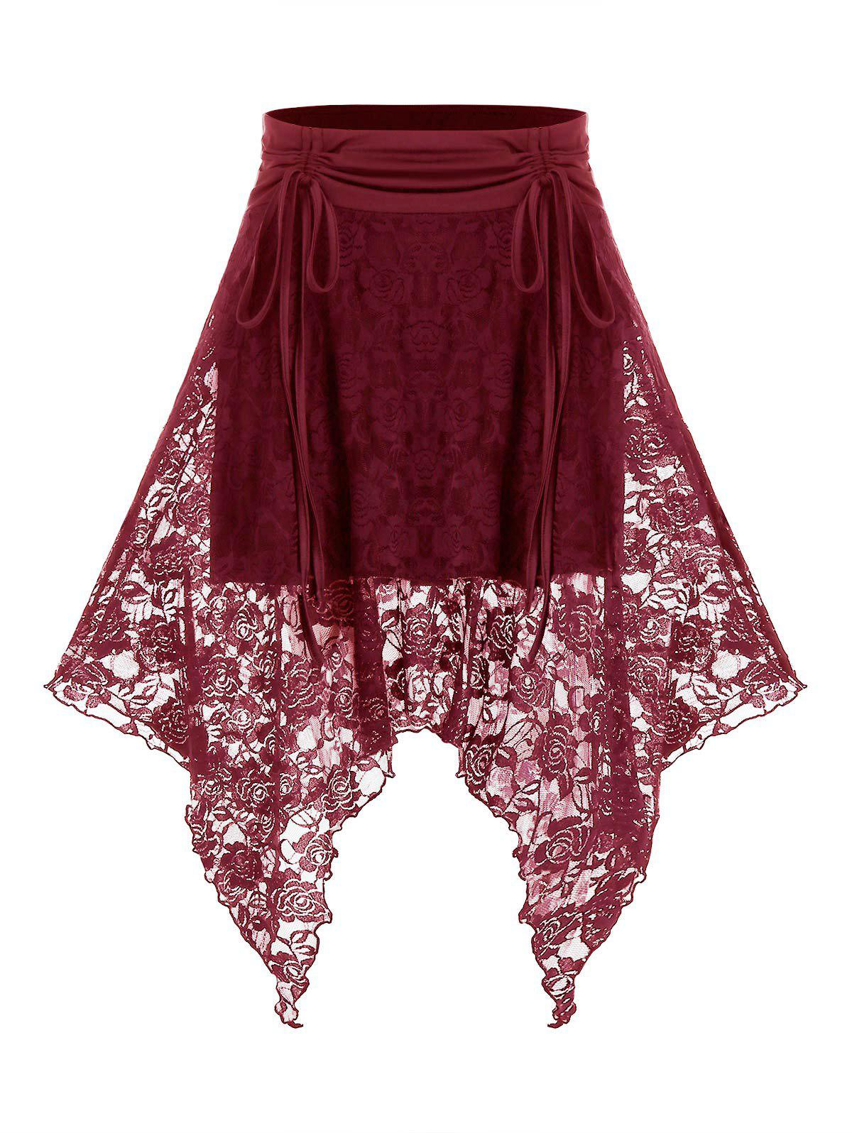 Best Plus Size Lace Handkerchief Cinched Tie High Rise Skirt