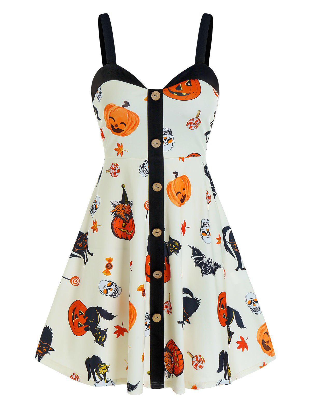 Outfit Halloween Pumpkin Print Mock Button Cami Mini Dress