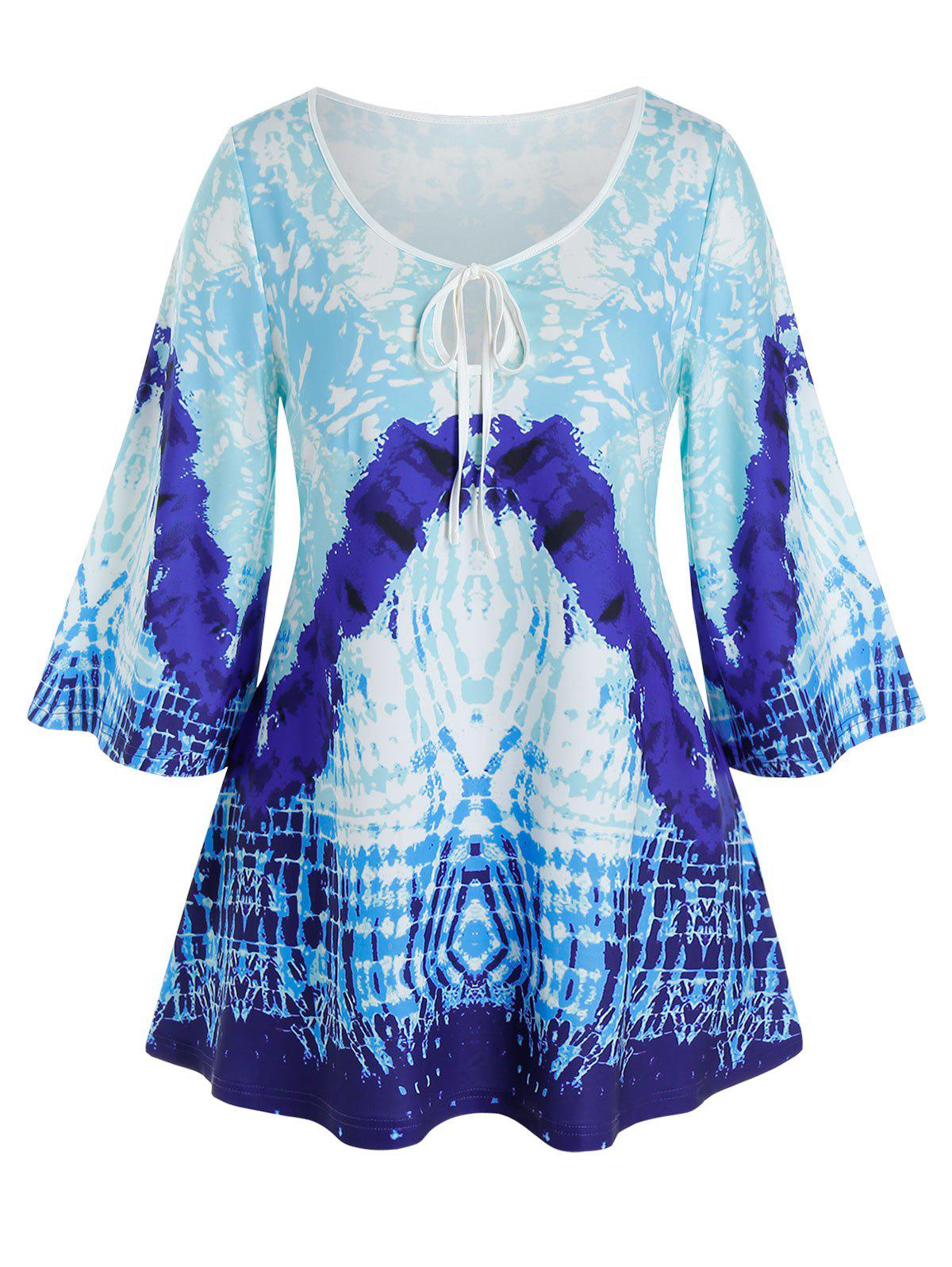 Fancy Plus Size Keyhole Tie Abstract Print Wide Sleeve Tee