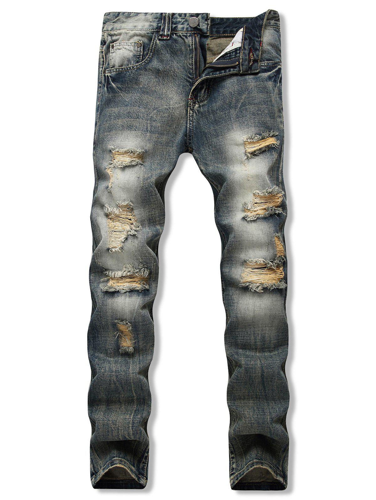 Discount Distressed Destroy Wash Long Straight Jeans