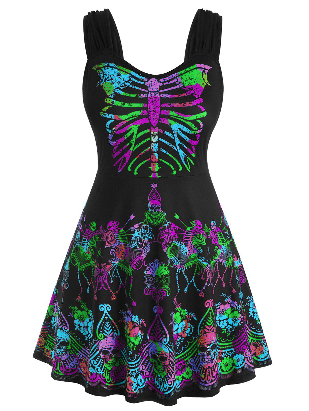 Cheap Skull Floral Butterfly Skeleton Halloween Plus Size Tank Top