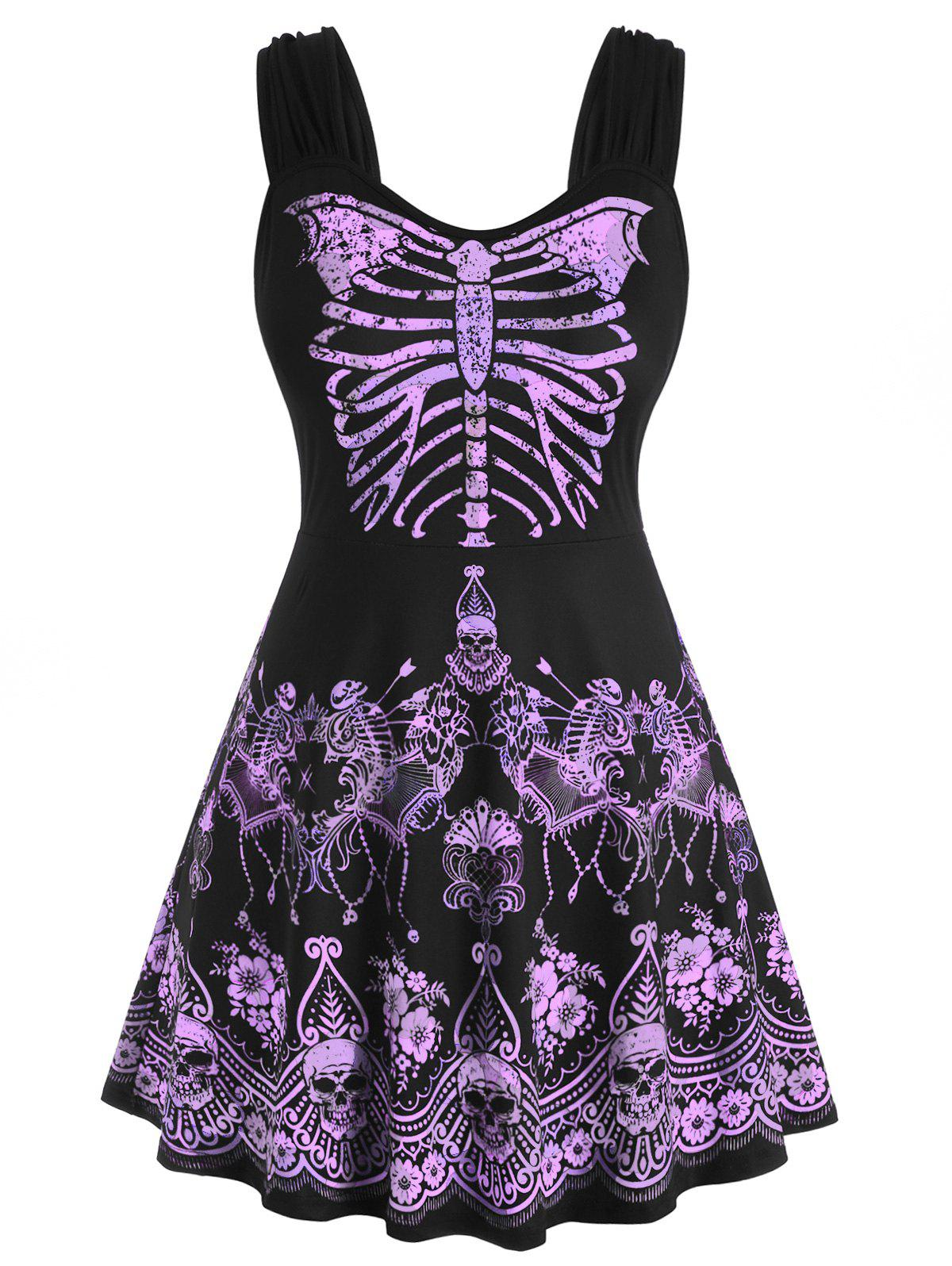 New Skull Floral Butterfly Skeleton Halloween Plus Size Tank Top
