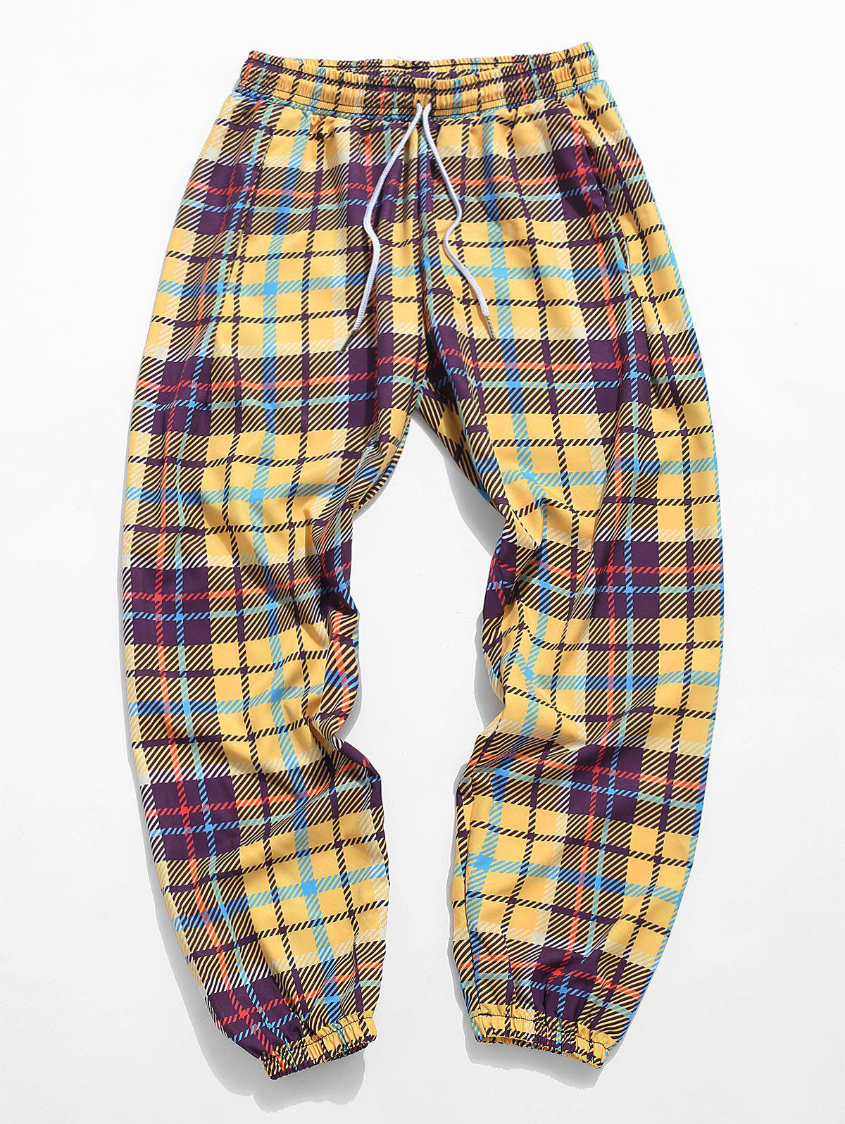 Affordable Plaid Allover Print Casual Pants