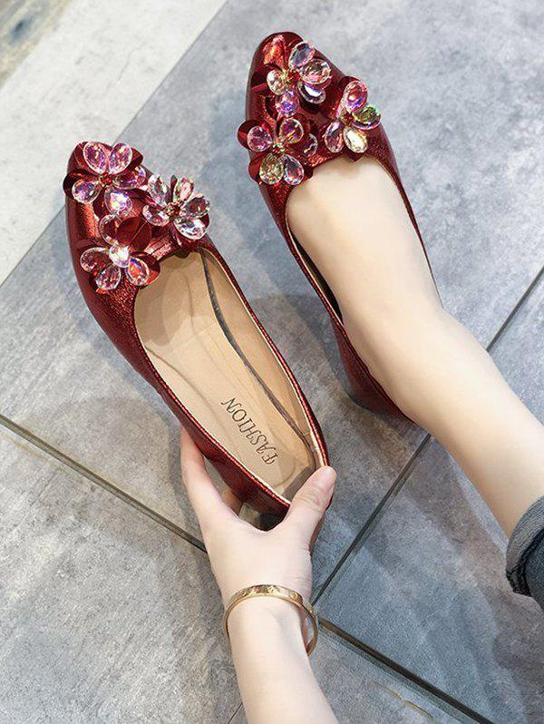 Pointed Toe Floral Flat Shoes