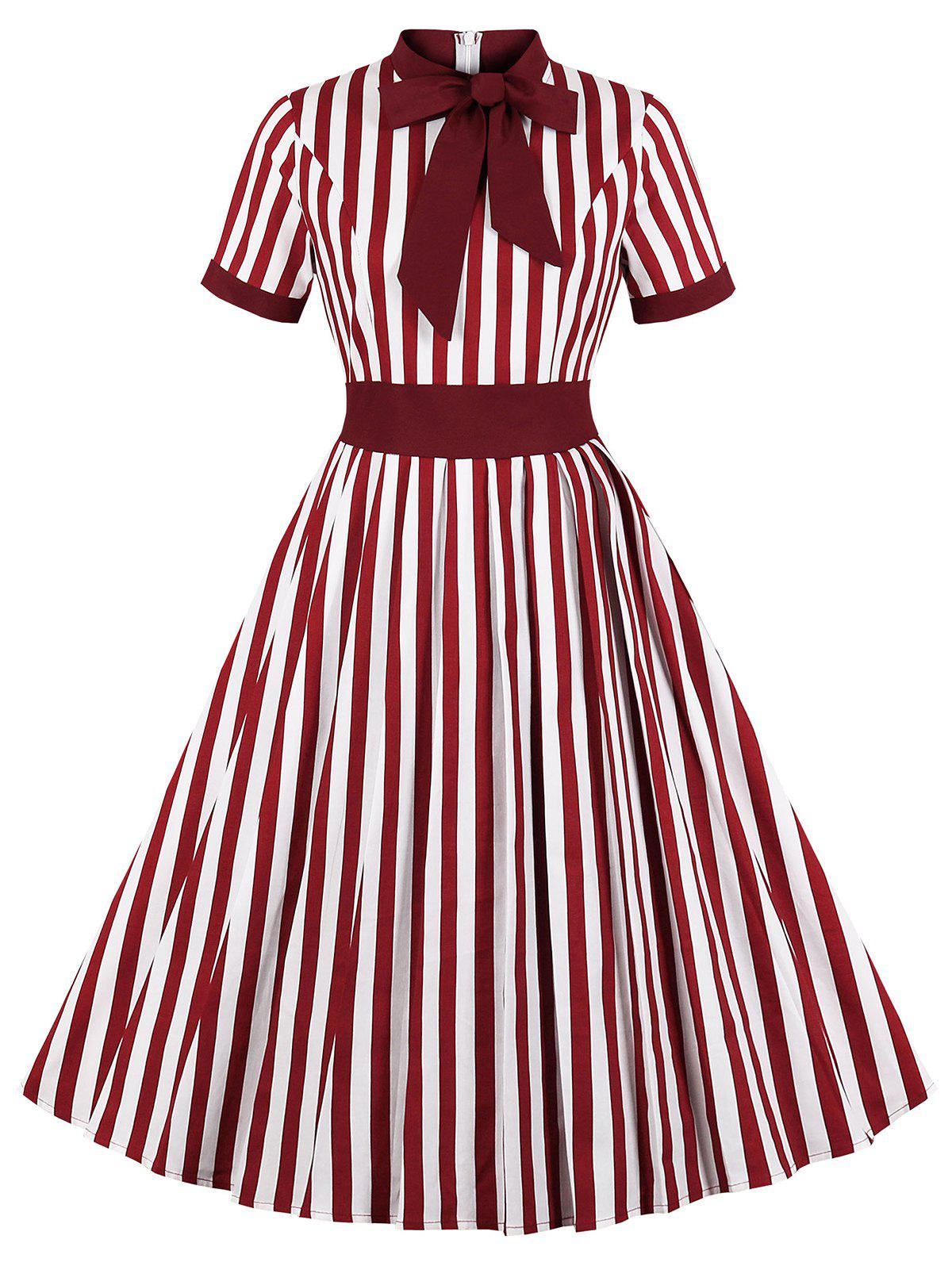 Best Tie Knot Striped Print Vintage Flare Dress