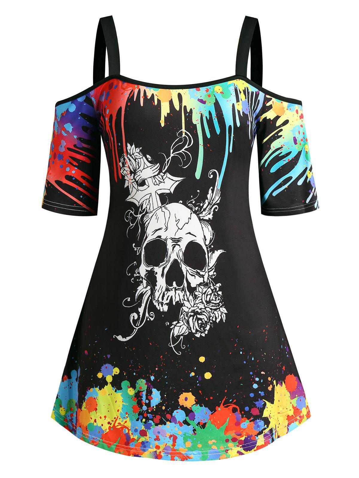Outfit Plus Size Halloween Skull Splatter Paint Cold Shoulder Tee