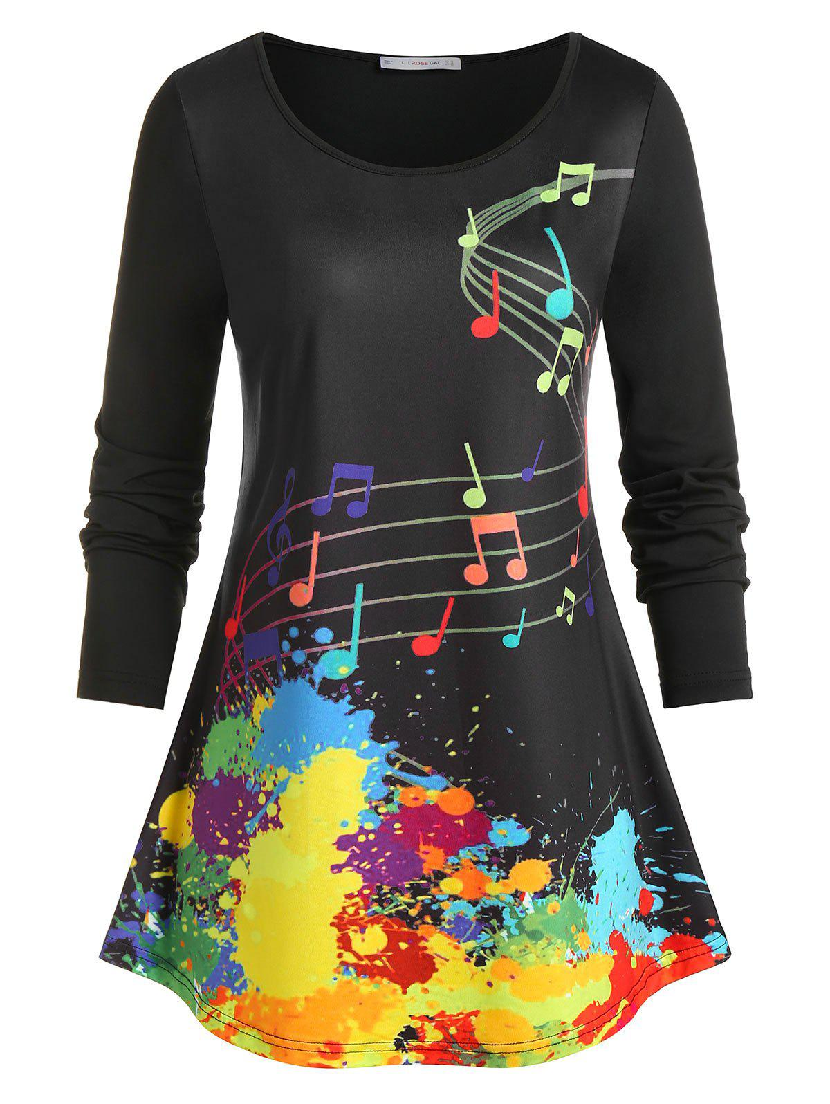 Affordable Plus Size Musical Notes Paint Splatter T Shirt
