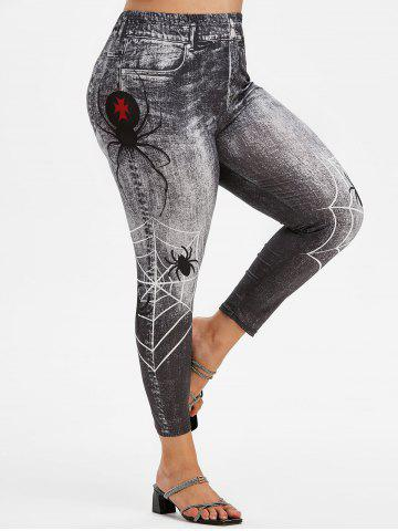 Plus Size Spider Web 3D Print High Waisted Jeggings