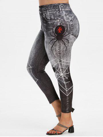 Plus Size Spider Web 3D Print High Waisted Jeggings - BLACK - 5X