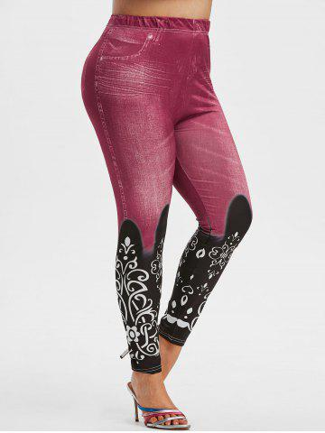 Plus Size 3D Jean Print High Waisted Jeggings - LIGHT PINK - L