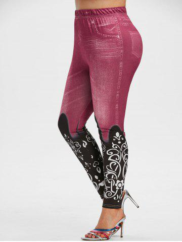 Plus Size 3D Jean Print High Waisted Jeggings