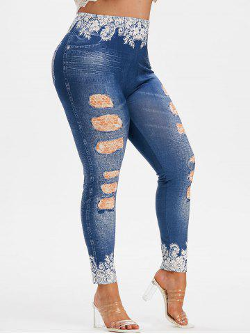Plus Size High Rise 3D Ripped Jean Print Jeggings