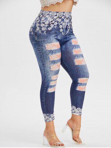 Plus Size 3D Lace Ripped Jean Print Skinny Jeggings