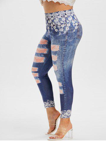 Plus Size 3D Lace Ripped Jean Print Skinny Jeggings - BLUE - 2X