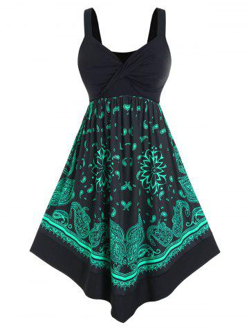 Plus Size Twisted Paisley Print Midi Backless Dress - BLACK - 2X