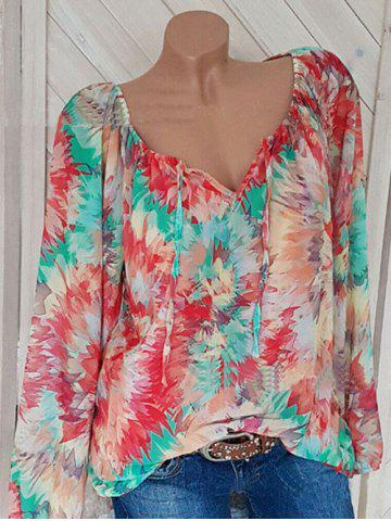 Plus Size Flower Print Notched Bishop Sleeve Blouse - RED - XL