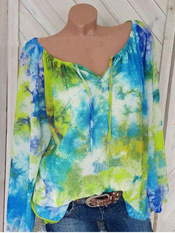 Plus Size Flower Print Notched Bishop Sleeve Blouse