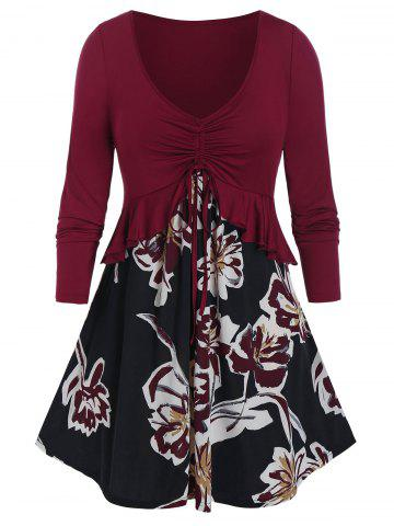 Plus Size Flower Pattern Cinched Flounce Peplum Tunic Tee - RED WINE - 5X
