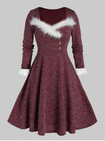 Plus Size Faux Fur Panel A Line Knit Dress - RED WINE - 5X