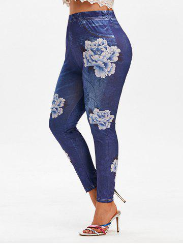 Plus Size 3D Flower Printed High Waisted Jeggings