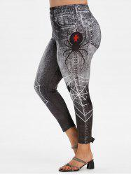 Plus Size Spider Web 3D Print High Waisted Jeggings -