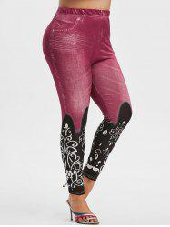 Plus Size 3D Jean Print High Waisted Jeggings -
