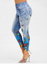 Multicolored Butterfly 3D Print Plus Size Jeggings -