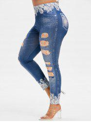 Plus Size High Rise 3D Ripped Jean Print Jeggings -