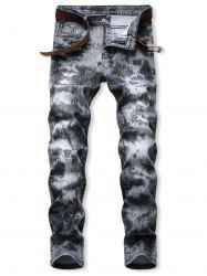 Acid Wash Zipper Fly Tapered Jeans -