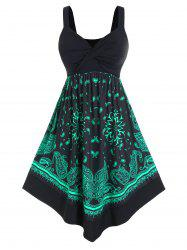 Plus Size Twisted Paisley Print Midi Backless Dress -