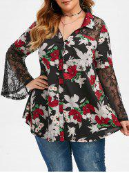 Plus Size Bell Sleeve Floral Print Shirt -