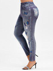 Plus Size Butterfly 3D Ripped Jean Print Jeggings -