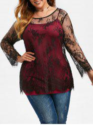 Plus Size Lace Blouse and Camisole Set -