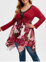 Handkerchief Floral Lace Up Plus Size Top -