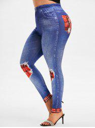 Plus Size Moon and Sun 3D Pattern High Waisted Jeggings -