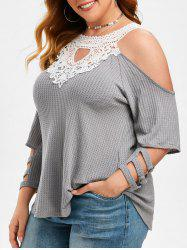 Open Shoulder Lace Panel Cut Out Plus Size Knitwear -