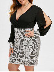 Plus Size Slit Sleeve Surplice Flower Lace Bodycon Dress -