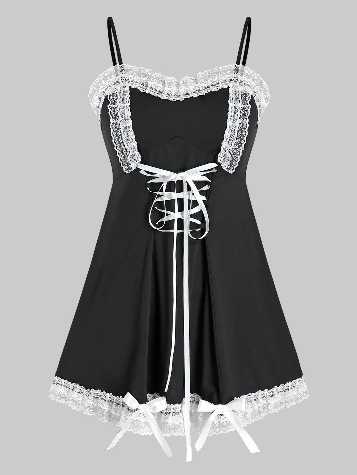 Chic Plus Size Frilled Lace Bowknot Lace-up Cami Babydoll Set