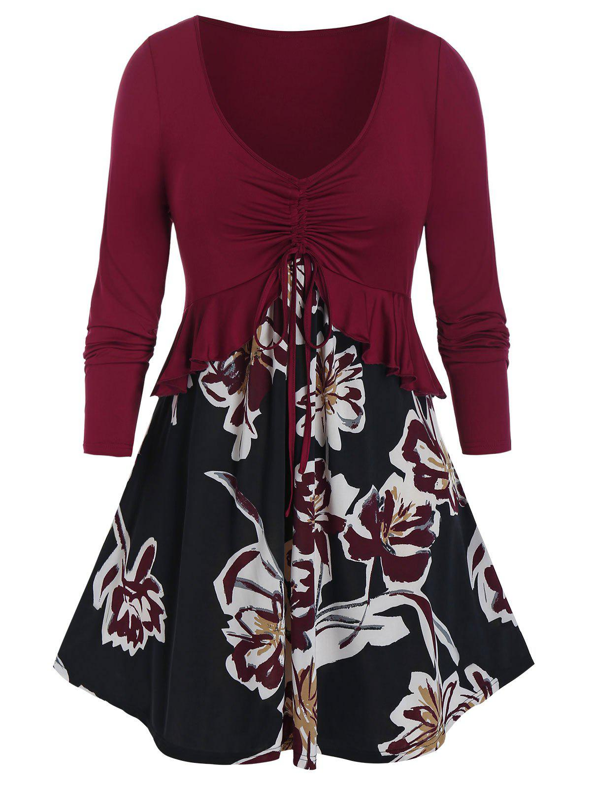 Affordable Plus Size Flower Pattern Cinched Flounce Peplum Tunic Tee
