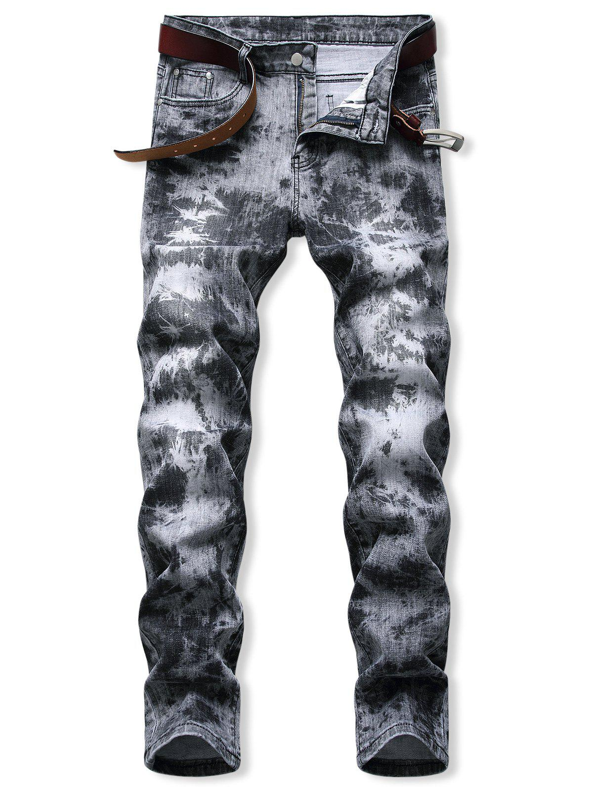 Chic Acid Wash Zipper Fly Tapered Jeans