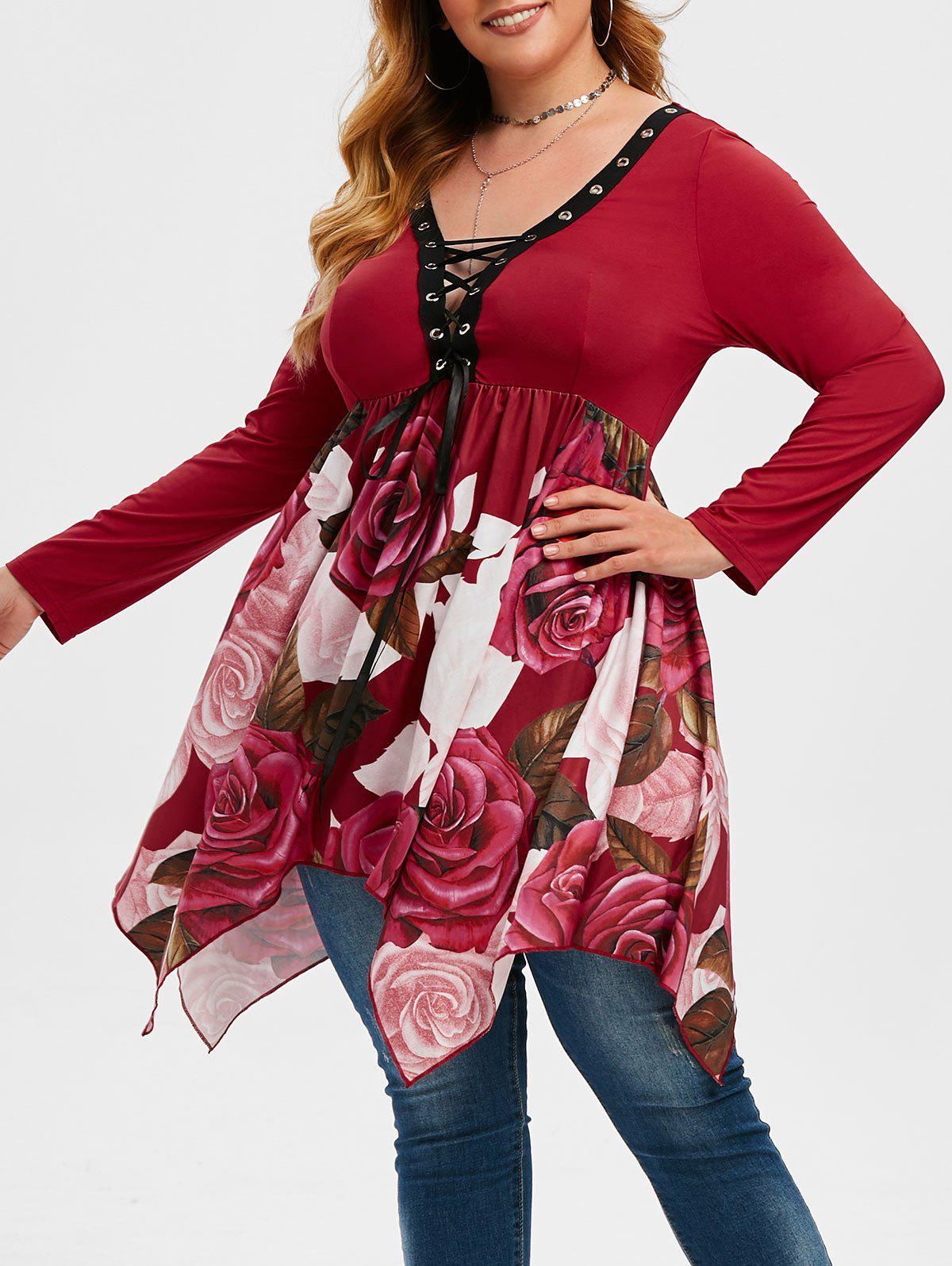 Affordable Handkerchief Floral Lace Up Plus Size Top