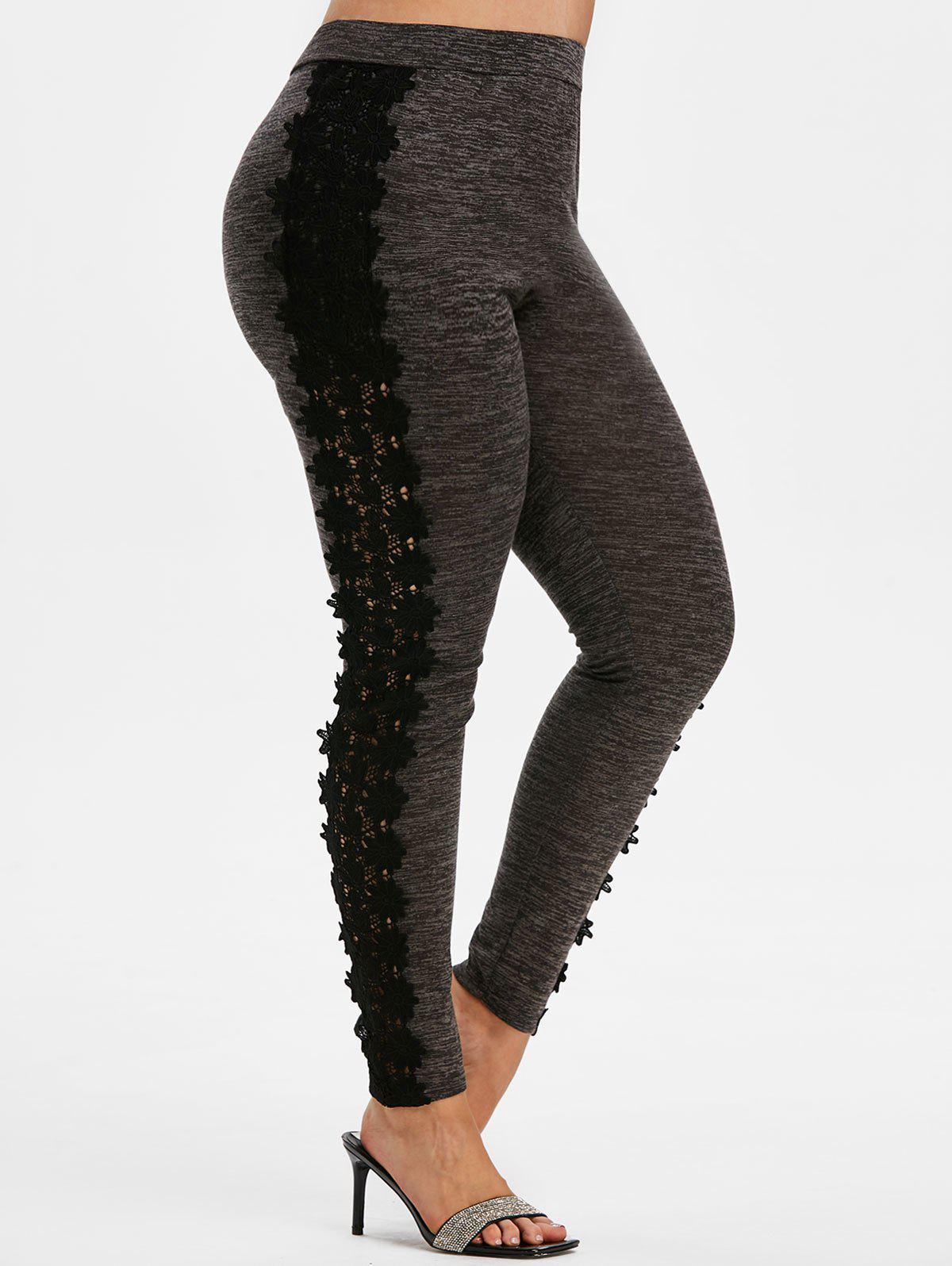 Affordable Plus Size Space Dye Lace Insert Pants